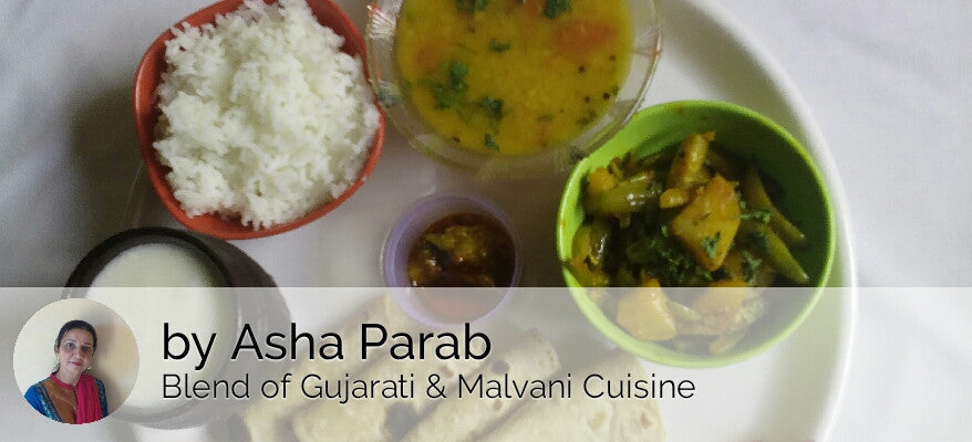 Tendli Potato Sabji with Chapati, Dal, Rice, Mango Pickle & Butter Milk -  - Homely - By Asha Parab