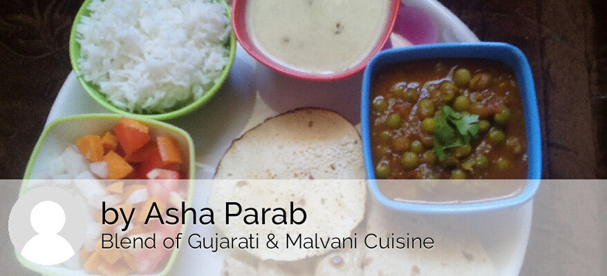 Green Peas Sabzi(gravy), Chapati, Gujrati Kadhi, Rice, Papad & Salad -  - Homely - By Asha Parab