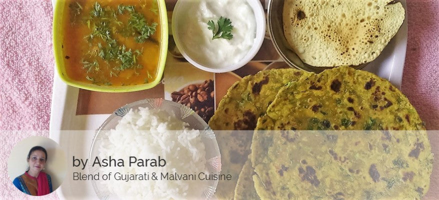 Dal Fry, Rice, Methi Thepla (4), Papad and Curd -  - Homely - By Asha Parab