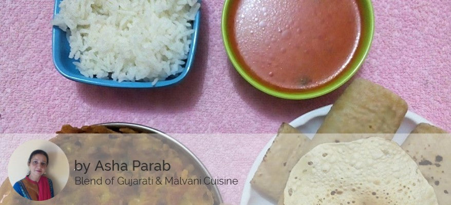 Besan Pola, Tomato Curry, Chapati, Rice and Papad -  - Homely - By Asha Parab