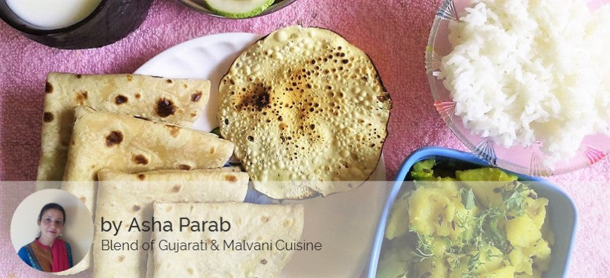 Aloo Sabji with Chapati, Rice, Dal Fry, Papad, Butter Milk and Salad -  - Homely - By Asha Parab - 1