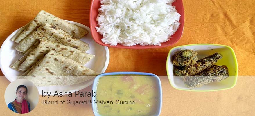 Stuffed Karela,  Chapati, Dal Fry and Rice -  - Homely - By Asha Parab