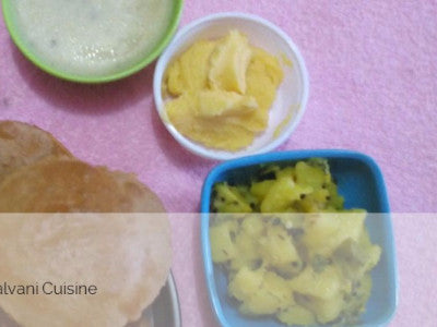 Aloo Sabji with Shrikhand, Wade(6) and Papad
