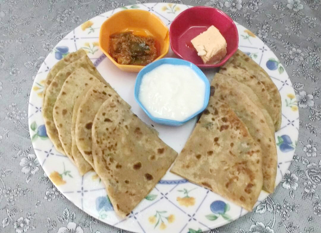 Assorted Parathas(3) with Pickle, Dahi and one sweet