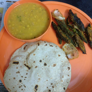 Bhindi Masala, Dal Fry, Roti(3), Rice and Papad