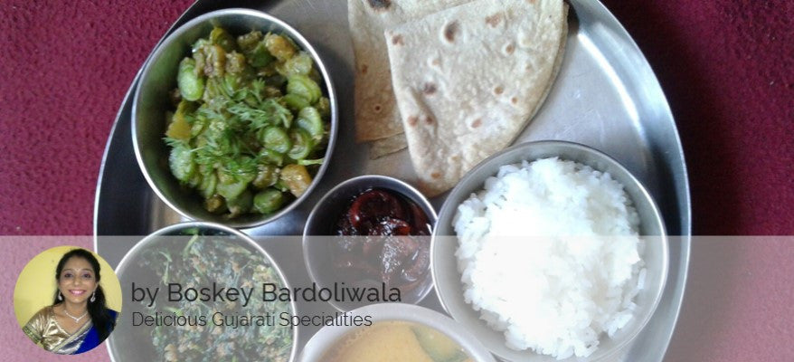 One Sabji, Ghee Fulka Roti(4), Papad, Rice, Gujarati Dal / Kadhi and Butter Milk / Lassi (Sweet) / Salad -  - Homely - Homely Vikhroli