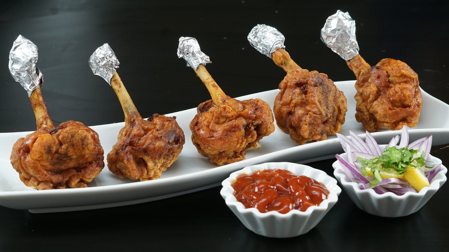 Chicken Lollipop (6) with Pudina Chutney & Schezwan