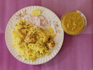 Parsi Style Chicken Pulav with Masala Dal