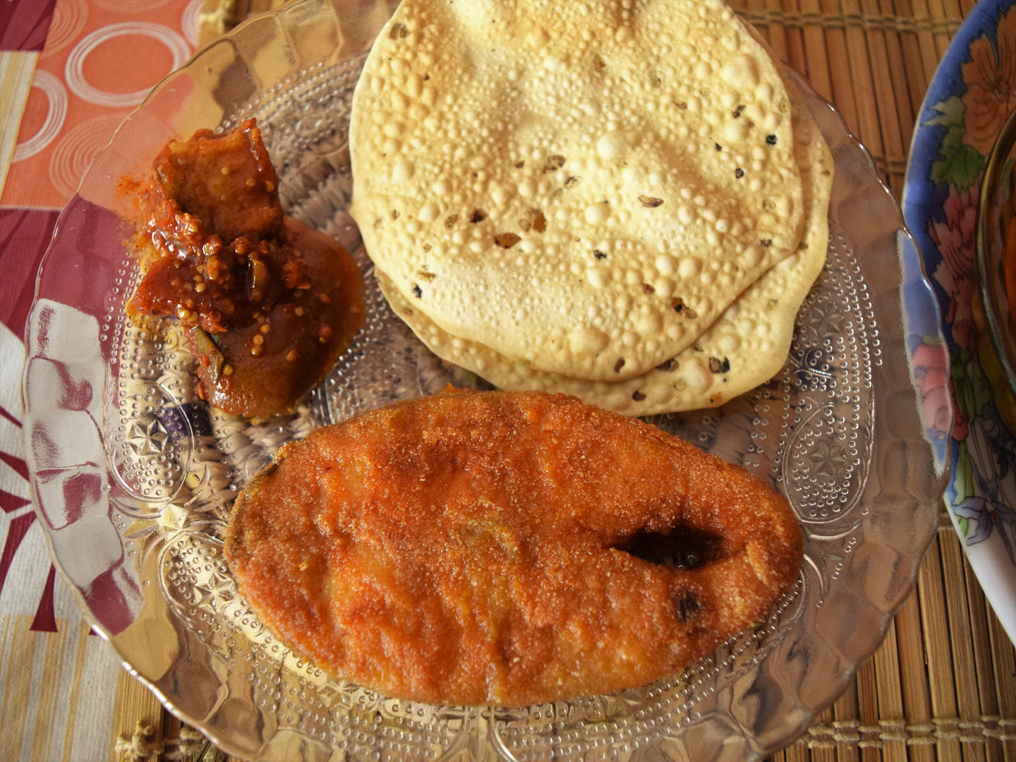 Ravas Fry ( 1 pc ) with Dal, Rice, Roasted Papad & Pickle