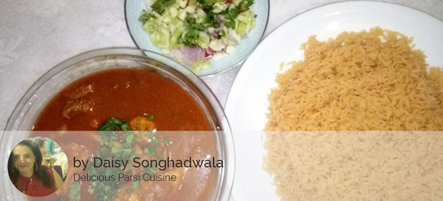 Chicken Dhansak with Rice, Salad and Banana -  - Homely - By Daisy Songhadwala