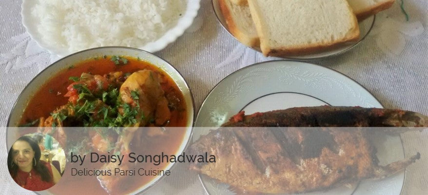 Chicken Gravy, Rice, Bread Slices(4), Surprise Sweet - Optional - Mackeral (Bangda) Fry -  - Homely - By Daisy Songhadwala - 1