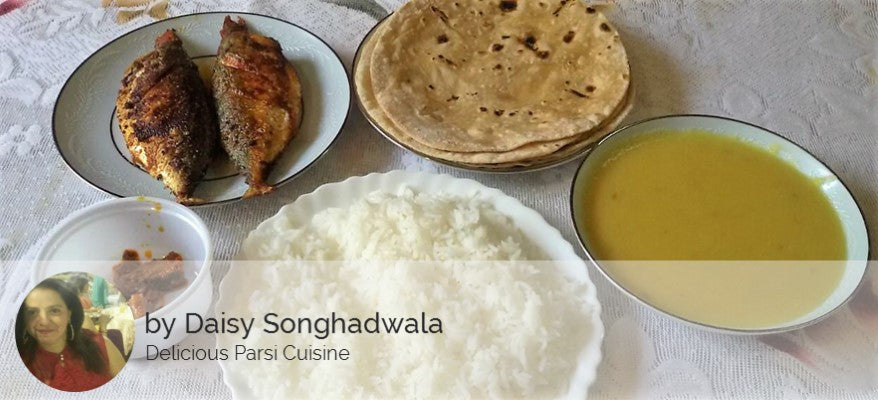 Bangda (Mackeral) Fish Fry (2 pcs) with Chapati (4), Dal Rice, Salad, Pickle and Surprise Sweet -  - Homely - By Daisy Songhadwala