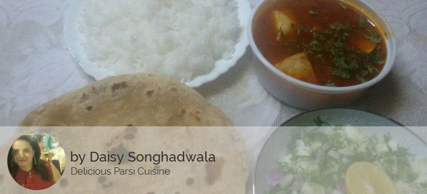Chicken & Fried Potatoes Gravy, Chapatis(4), Rice, Salad & Sweet -  - Homely - By Daisy Songhadwala