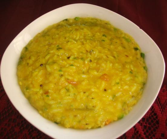 Daal Khichdi with Papad, Pickle & Curd.