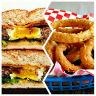 Egg In A Hole Burger With Onion Rings