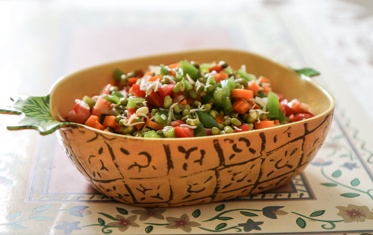 Homely Greens: Green Moong Sprout Salad  With Vegetables