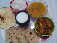 Aloo Baingan Sabji, with Chapati, Dal, Rice, Papad, & Butter Milk