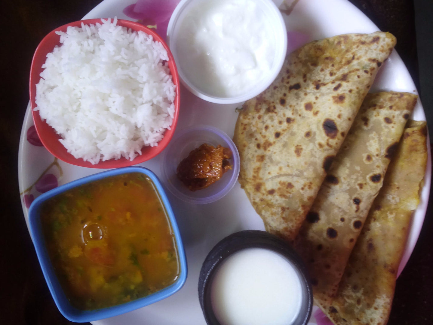 Aloo Paratha (3) with Curd, Dal, Rice, Pickle & Buttermilk -  - Homely - By Asha Parab