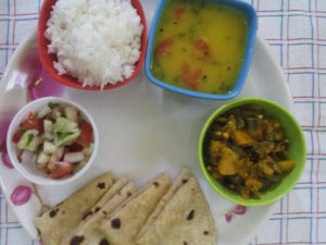 Aloo Shimla Mirch Sabji with Chapati, Dal, Rice, Salad with Surprise Sweet -  - Homely - By Asha Parab