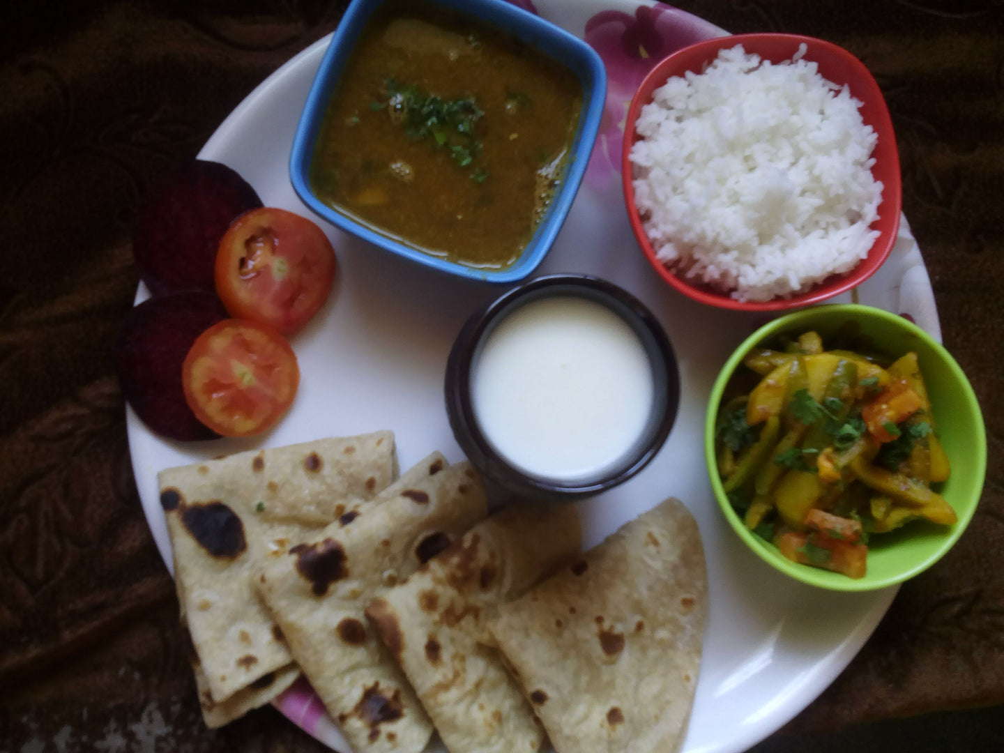 Aloo Tondali Sabji with Chapati, Black Masoor Dal, Salad, Papad & Buttermilk