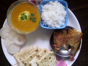 Bangda Fry & Egg Curry with Rice, Chapati & Salad -  - Homely - By Asha Parab
