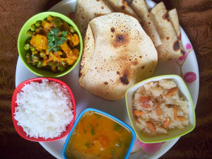 Beans, Gobi, Matar Mix Sabji with Chapati, Rice, Dal, Papad & Suji Halwa -  - Homely - By Asha Parab