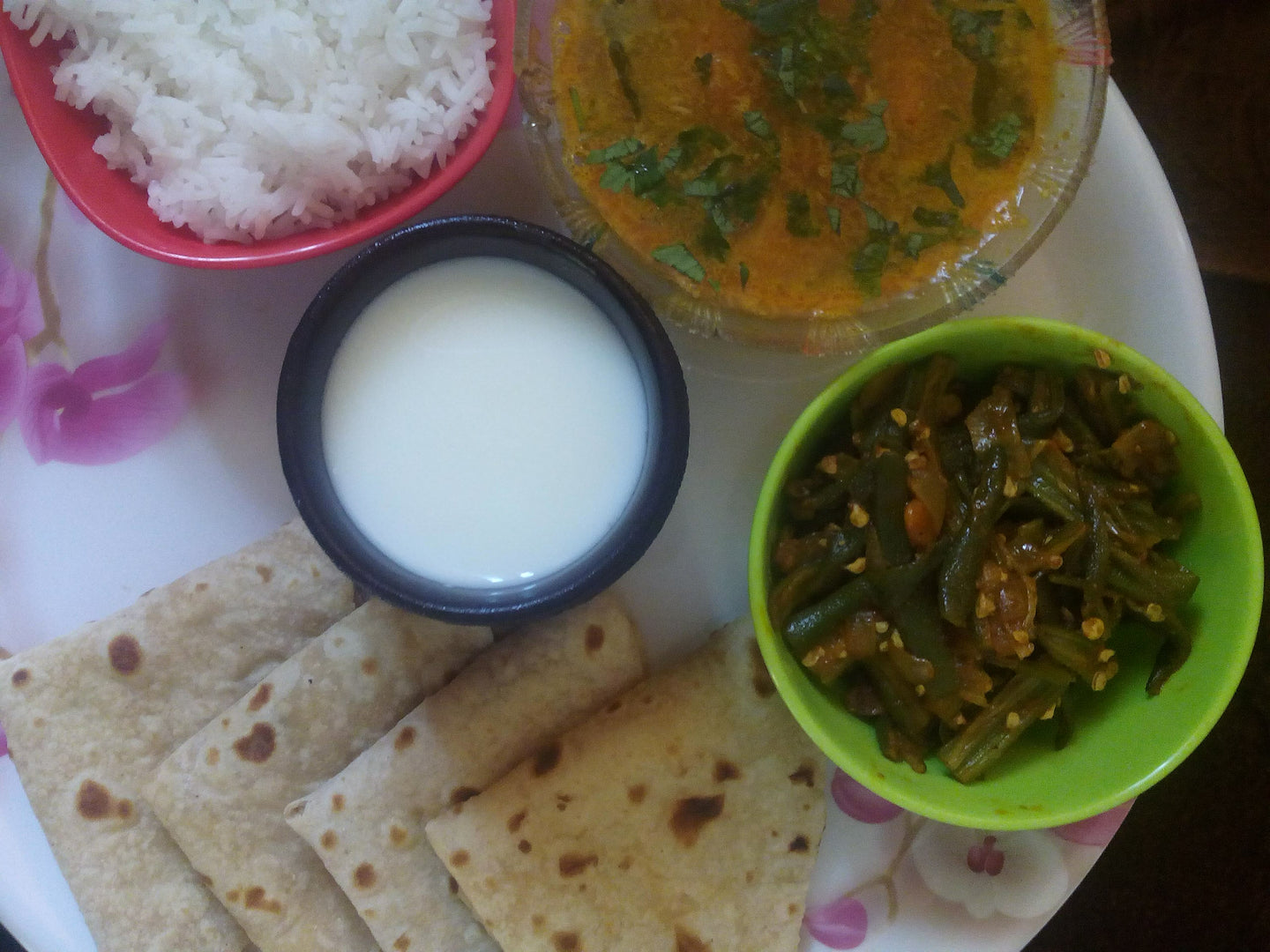 Bhindi Fry with Chapati, Chanadal Fry, Rice, Papad & Buttermilk -  - Homely - By Asha Parab