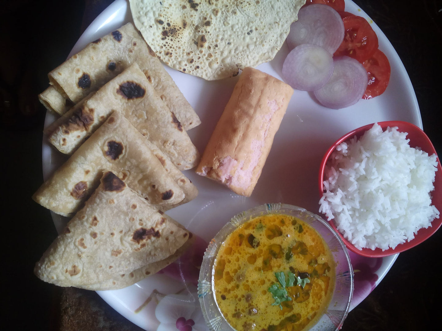 Chana Masala with Chapati, Rice, Salad, Papad & Strawberry Roll -  - Homely - By Asha Parab