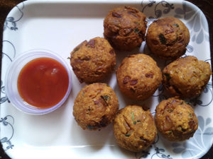 Chawal ke Pakode with Ketchup -  - Homely - By Asha Parab