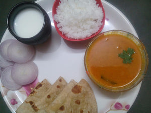 Chawali( Black Eyed Beans) Masala Gravy with Rice, Chapati & Buttermilk -  - Homely - By Asha Parab