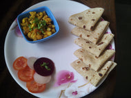 Egg Bhurji & Chapati (5) with Salad & Papad