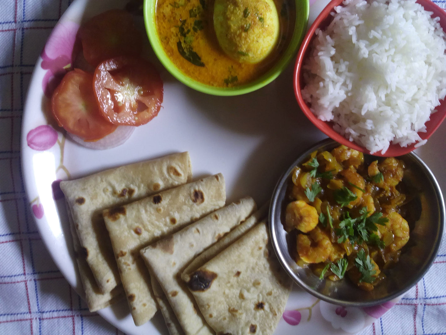 Egg Curry with Rice, Prawns Masala (dry), Chapati & Salad -  - Homely - By Asha Parab