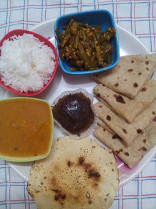 Masala Bhindi, Pulka Roti, Rice, Dal, Papad & Chocolate Muffin -  - Homely - By Asha Parab