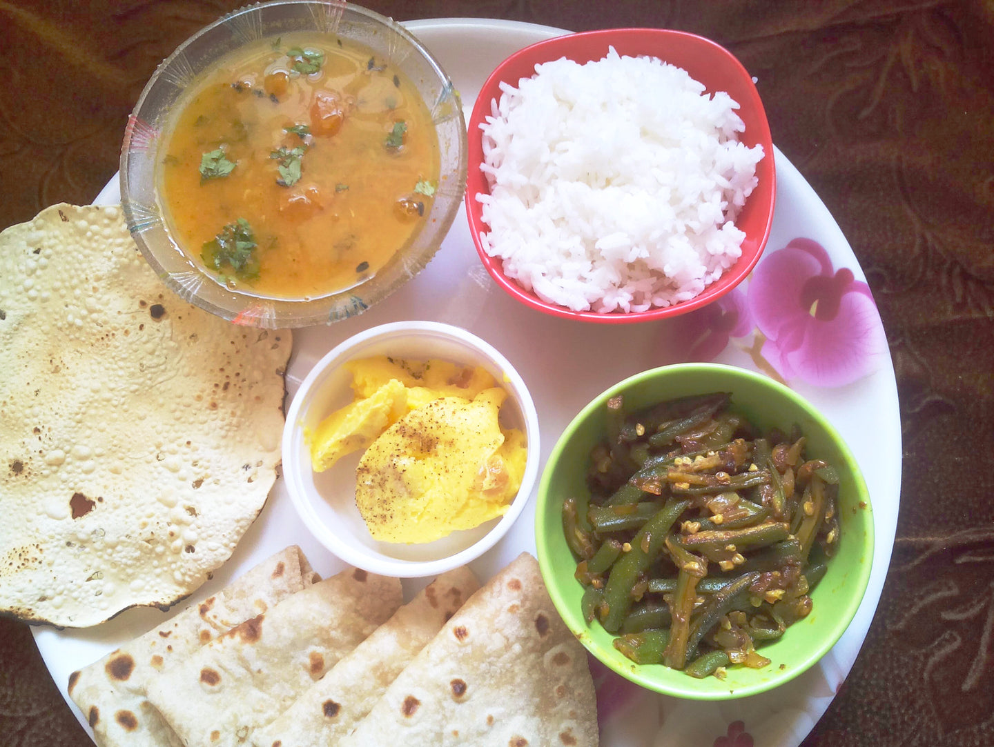 Masala Bhindi with Chapati, Dal, Rice, Papad & Dryfruits Shrikhand -  - Homely - By Asha Parab