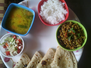 Matki (Sprout) Sabji with Chapati, Dal , Rice, Papad, Salad & Sweet