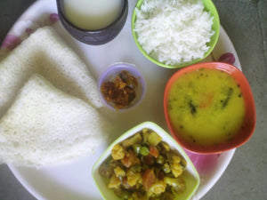 Mixed Veg Sabji with Neer Dosa (2), Dal, Rice, Pickle, Papad & Cool Buttermilk