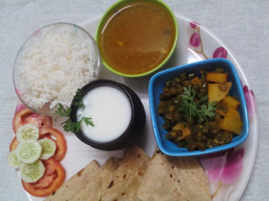 Potato Beans Sabji, Chapati, Masoor Dal, Rice, Salad & Buttermilk -  - Homely - By Asha Parab