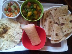 Turiya (Dodka) Aloo, Tomato sabji with Chapati (5), Salad, Papad & Strawberry Cake