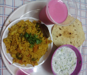 Veg Pulao with Raita, Papad & Falooda Milkshake -  - Homely - By Asha Parab