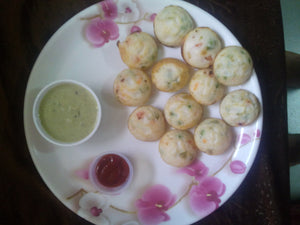 Vegetable Appe (12 Nos.) , With Green Chutney and Tomato Ketchup .