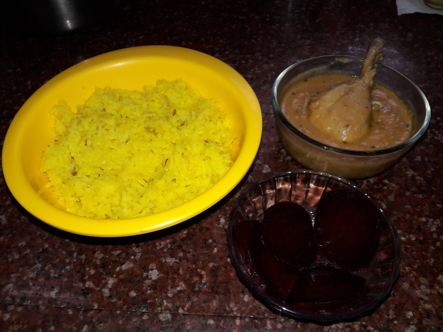Khichadi with Chicken Sauce(Gravy) & Beetroot Salad