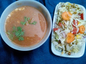 Healthy Meals - Carrot Tomato Coriander thick Soup, Special Protein Fibre Rich Mix Sprouts Salad with Lime Dressing -  - Homely - By Meghana Desai