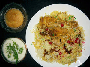 Chicken Biryani with Cucumber Raita and Eggless Cake