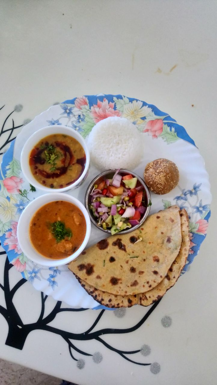 Gutte ki Sabji, with Panchmel Dal Rice Missi Roti(3) Salad Churma Ladoo (1)