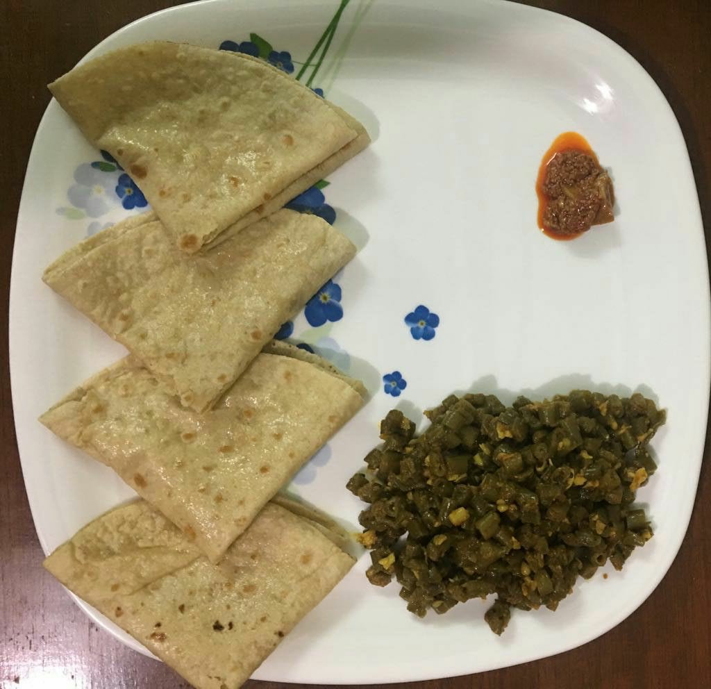 Chauli Sabji with Fulka Roti, Dal & Rice