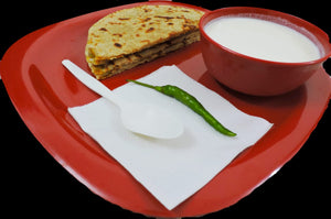 Aloo Paratha (2 pc) with Curd & Ketchup