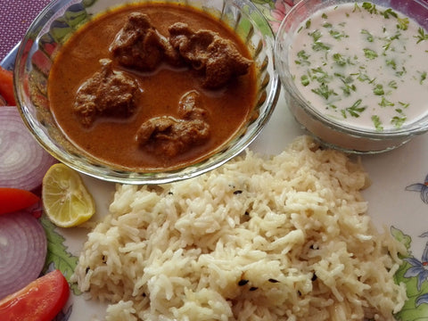 Malvani Chicken Curry, Jeera Rice, Salad and Solkadi