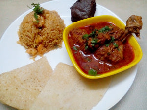 South Indian Style Chicken Curry with Aamboli With Spicy Prawn Rice and Salad with Brownies and Rose Cooler