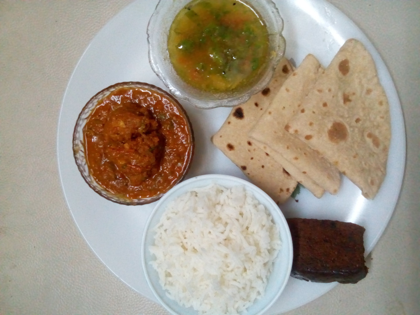 Egg Curry with Chapattis, Rice, Panchmel Dal (5grain), Curd, Dessert & Aam Panha