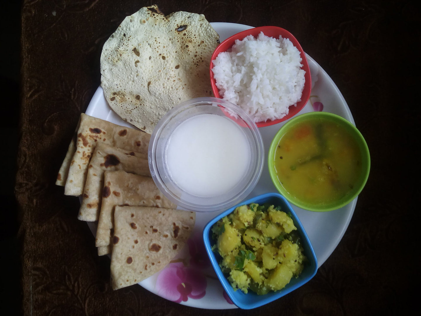 Aloo ki Sabji with Chapati, Dal, Rice, Papad & Buttermilk